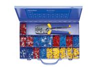 MK230B507 Набор: изолированные наконечники разных типов и сечений и пресс-клещи K507 в мет. кейсе